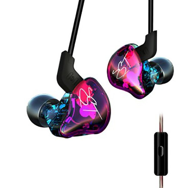 New style intelligent line control with mic music sport headphone Individualized design HIFI dual unit bass stereo denoise HD voice earphone
