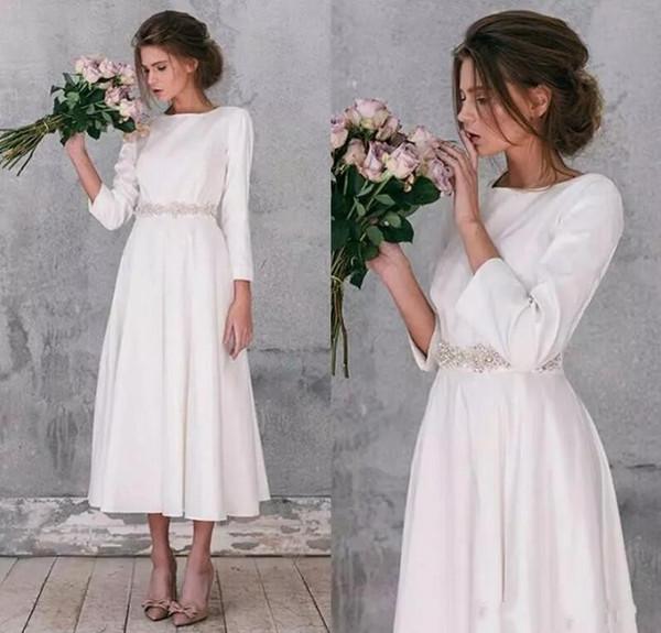 Nuovo Design 2018 Tea Lunghezza Abiti da sposa corti Boemia Summer Beach in rilievo Sash Maniche lunghe Abiti da sposa economici A Line Satin Wedding Wear