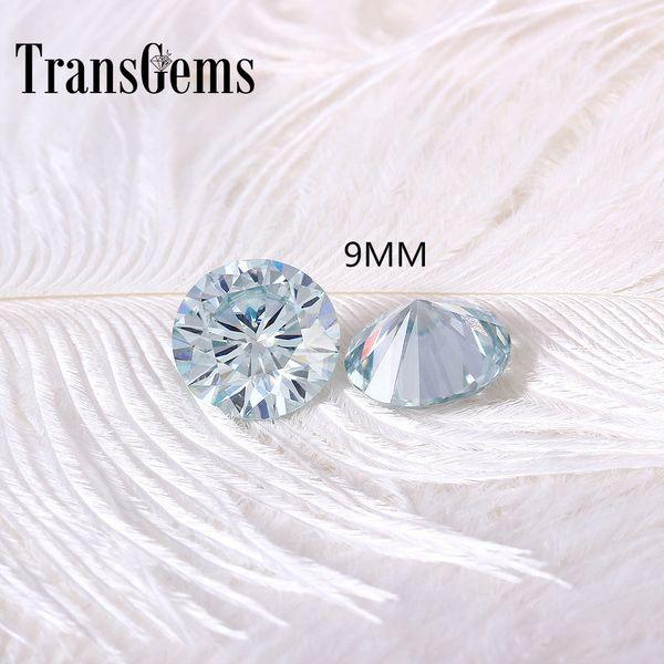 TransGems 9mm 3Carat Slight Blue Color Certified Man made Diamond Loose moissanite Bead Test Positive As Real Diamond 1pcs S923