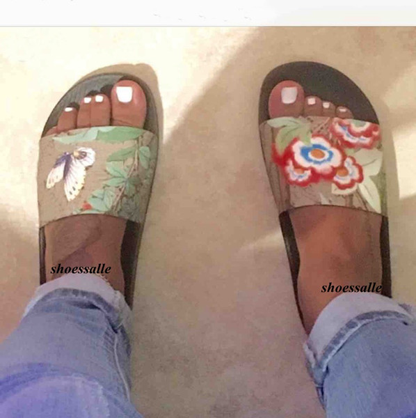 2018 mens and womens fashion tian slide sandals rubber flip flops with butterfly flower print size euro 35-45