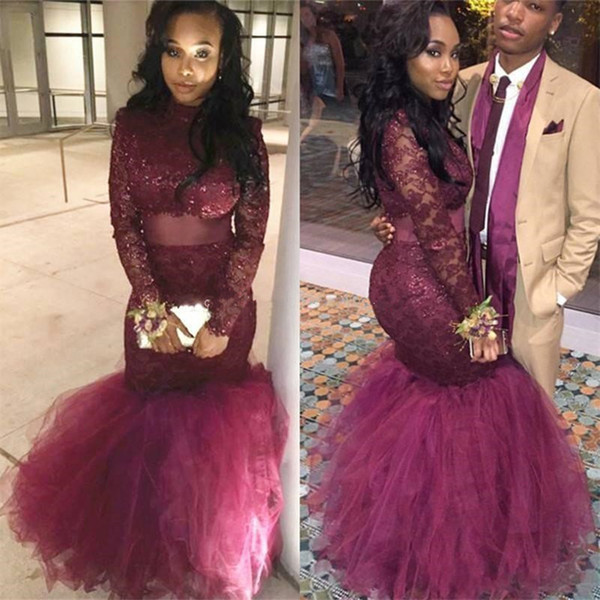 2018 New Plus Size Mermaid Prom Dresses High Neck Beaded Long Sleeves Lace Tulle Floor Length Burgundy Wine Red Graduation Party Dresses
