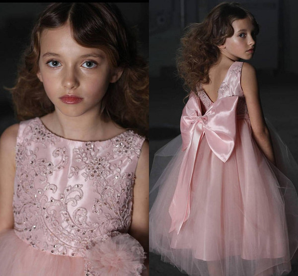 Rose Pink Ball Gown Flower Girls Dresses Lace Tulle Beaded Bow Floor Length Backless Children Wedding Party Dresses Girls Pageant Dresses