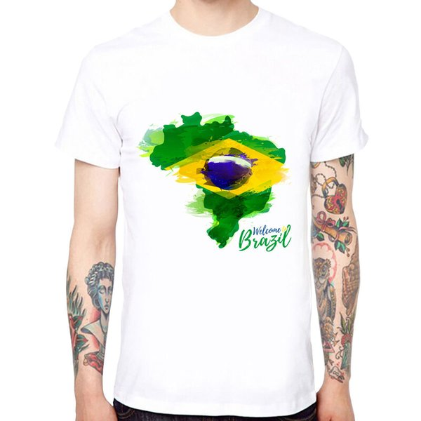 Welcome To Brazil Men's Cotton Funny Cool T-shirts Short Sleeve Tops Tee Tee Shirt Hipster Harajuku Brand Clothing T-Shirt