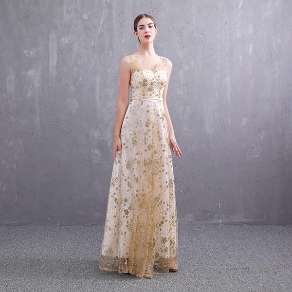 Robes de soirée d'or de luxe paillettes scintillantes étoile simple brillante perlée élégante soirée longue robe de bal de conception