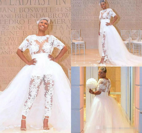 2019 New Wedding Jumpsuit With Detachable Train See Through Lace Bodice Appliques Beach Wedding Dress Plus Size African Bridal Gowns