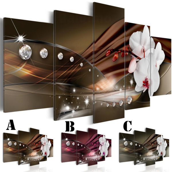 Wall Art Picture Printed Oil Painting on Canvas No Frame 5pcs/set Home Decor Extra Mirror Border Shinny World and Orchid Flower