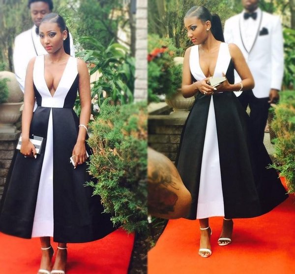 South Africa Elegant Black And White Long Prom Dresses 2018 Deep V Neck Sleeveless Tea Length Evening Gowns Formal Dresses Party Wear