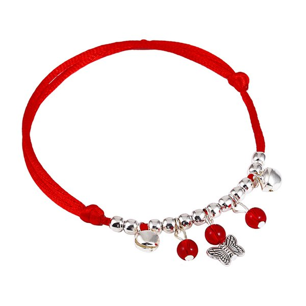 1PC Simple Bell Red String Anklet with pendant Handmade Woven Ethnic Style Anklet Foot Ornament free shipping