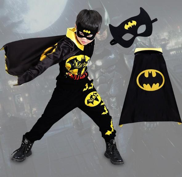 Boy Halloween Batman Cosplay Clothes Kids Role-Playing Party Costumes Children Cool Batman Performance Wear With Mask 110-160 CM 3-15T