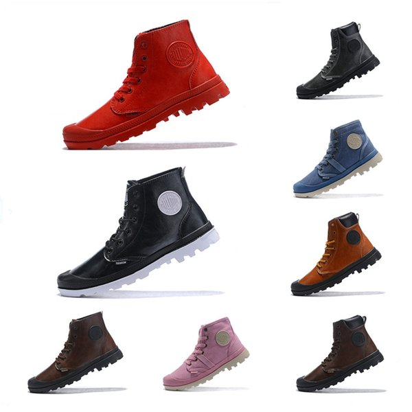 2018 High Quality Original Palladium Brand Boots Women Mens Designer Pink Brown Outdoor Sports Winter Sneakers Casual Luxury ACE Boots 35 45 Black