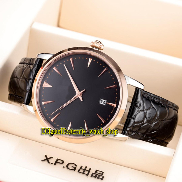 6 Color High Qualit MASTER ULTRA THIN 1282510 Black Date Dial Miyota 8215 Automatic Mens Watch Rose Gold Case Leather Strap Gents Watches