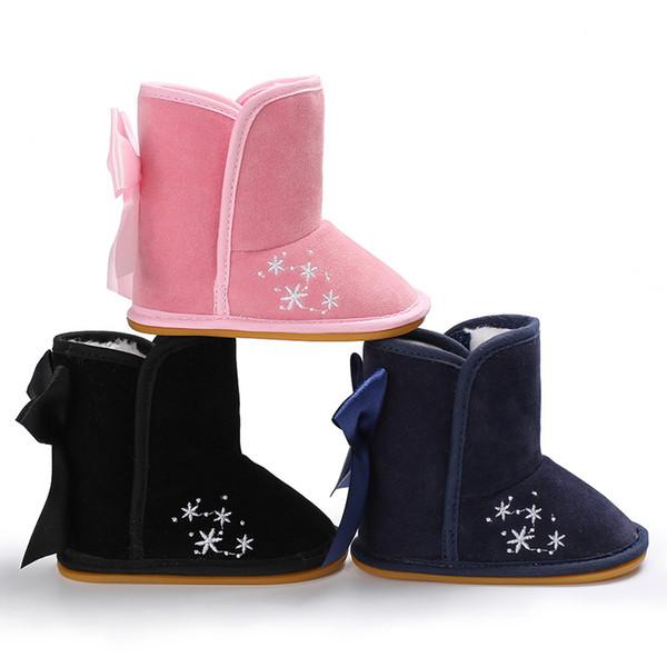 Çocuk Botları Bebek Ayakkabıları Çocuk Yumuşak Kauçuk Taban Patik Kış Kız Erkek kaymaz Açık İlk Walker Yürüyor bebek Babe Ayakkabı