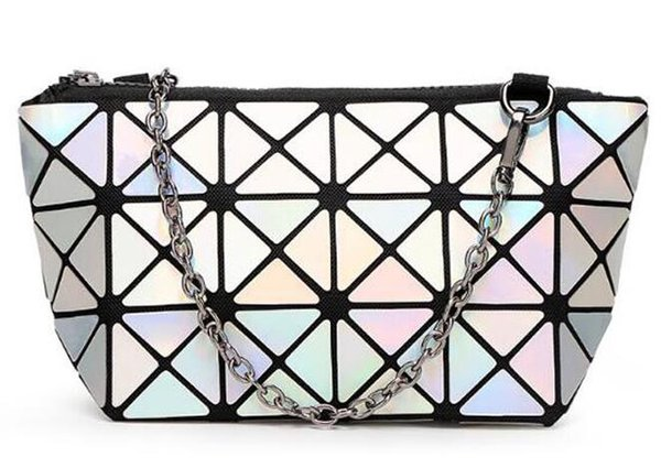 Brand New Fashion womens cosmetic bag Geometric Folding Lingge Silver Bag make up bags Cases for ladies beauty bags drop shipping