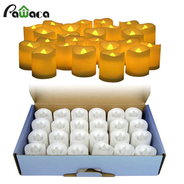 24pcs /Lot Battery Operated Flickering Light Flameless Led Tealight Tea Candles Holiday Party Wedding Home Decorative Light
