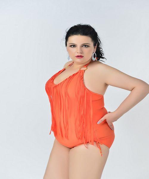 58b246aaaa8 Newest Summer Plus Size Tassels one piece High Waist Sexy Swimsuit Women Swimwear  Padded Fringe Shinny