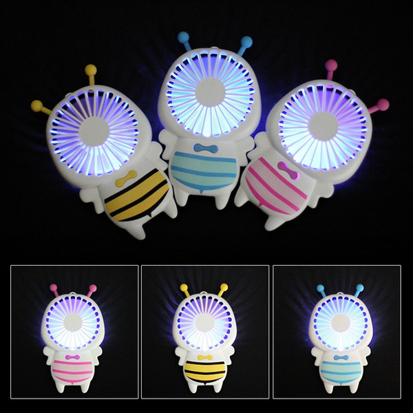 Baby Bee Small Fan With 7 Colors LED Portable Ultra-Slim Mini Fans 4W Handy Quite USB Fans For Students Office Outdoor