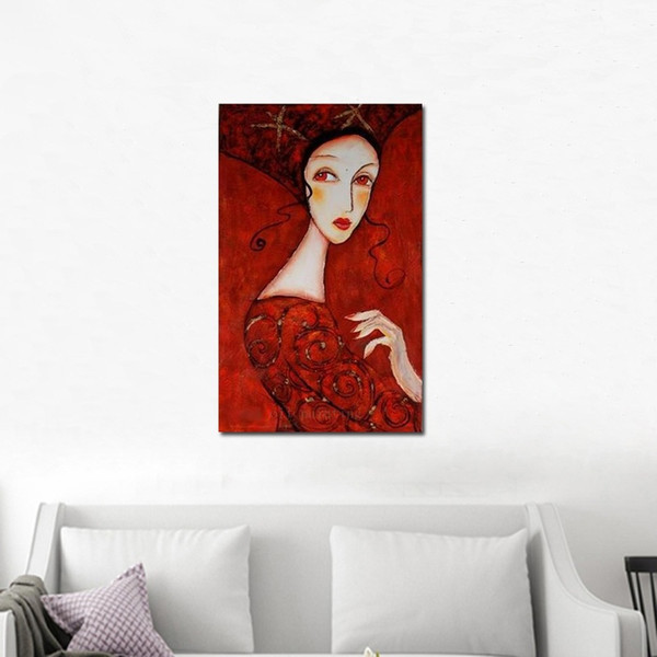 Dipinto a mano Modern Portrait Women Hot Sex Image Canvas Dipinto a mano astratto Wall Art Lady in Red Dress dipinti ad olio