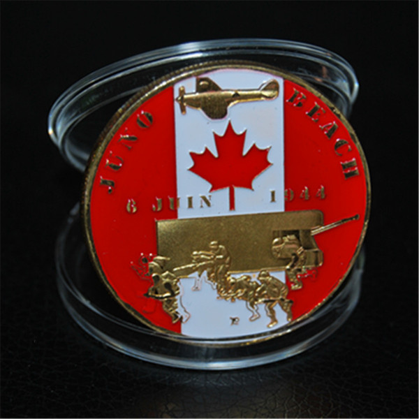 top popular Canada D-Day 6th June 1944 Juno Beach Gold Plated Challenge Coin 2019