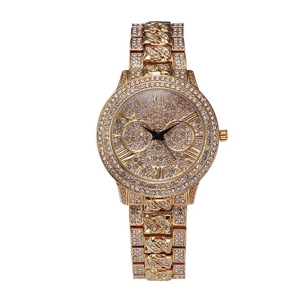 Gold Grils Wrist Watch Fashion Brand Waterproof Relogio Feminino Dourado Timepiece Women Roman Numerals Cheap Watches