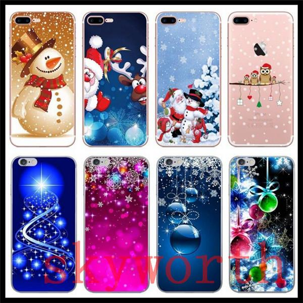 Christmas Gift Soft TPU Case For iphone XS MAX XR X 8 7 Plus 6 6S Santa Claus Xmas Hat Tree Snowman