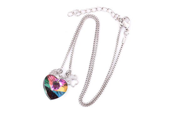 Wings heart Shaped colorful glass pendant necklace Dog Print Pendant women girl's fashion jewelry free shipping