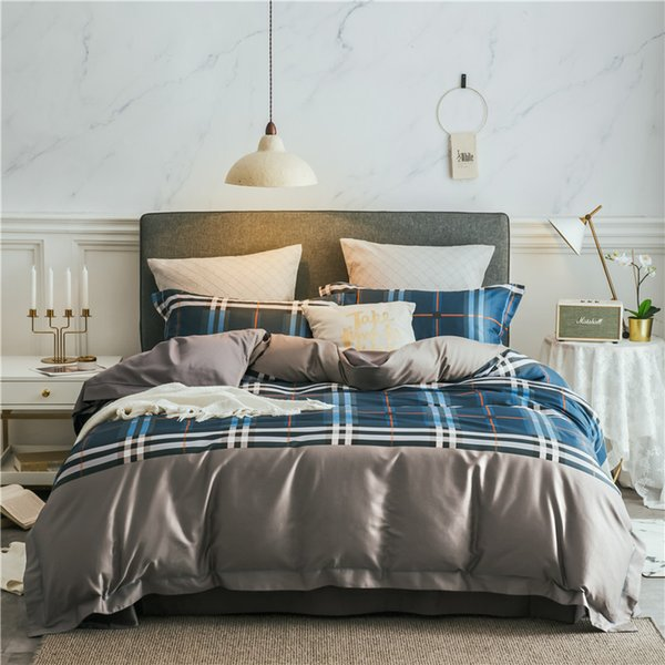 New Product 4 Pcs Bedding Set egyptian cotton Bedclothes blue grey plaid Bed Linens Duvet Cover Set Bed Sheet