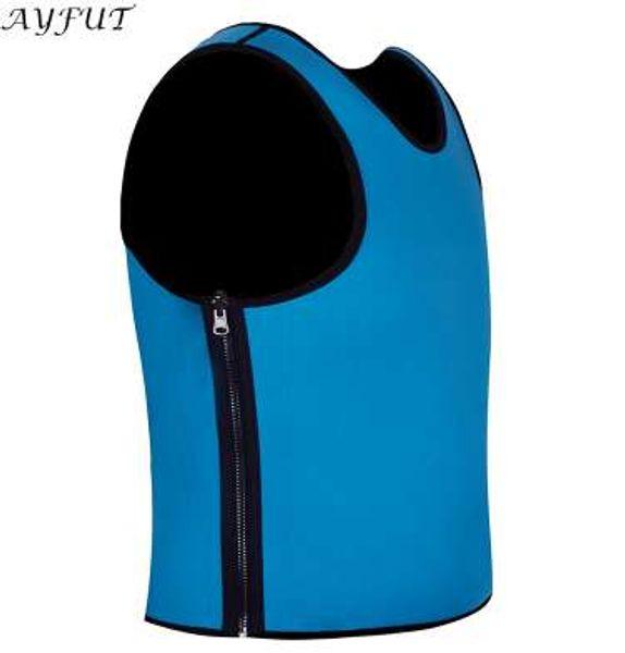 SAYFUT Neoprene Zip Slim Vest Hot Sweat Sauna Suits Workout Body Shaper Mens Waist Trainer Weight Loss Tummy Control Shapewear