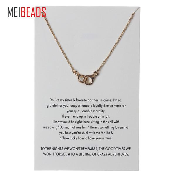 MEIBEADS Lucky Chain Wish ожерелье симпатичные наручники сплава очарование Моды кулон ожерелья Для женщин девушки лучший подарок CN90