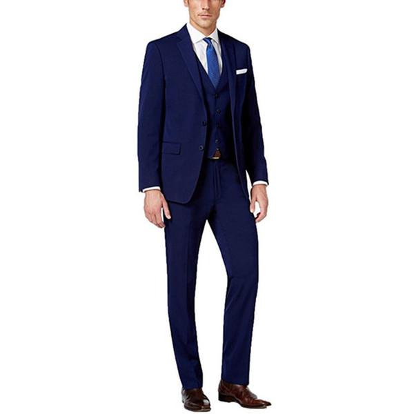 Custom Made Navy Blue Men Suit Men's Groom Suit Business Formal 3 Piece Slim Fit Wedding Groom Tuxedos (Jacket+Pants+Vest)