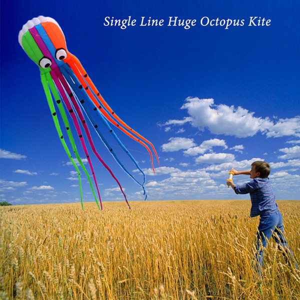 Huge Octopus Kite 800cm/26ft Single Line Soft Frameless Squid Kite Children Adults No Assembly 8 Long Tails Adults Outdoor Toys