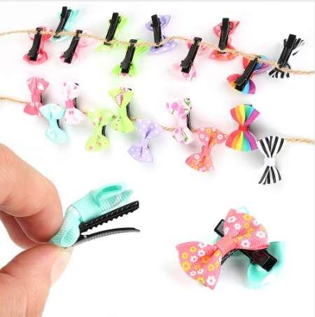 10 stücke Kleine Bogen Haarspangen Süße Baby Kinder Kinder Mädchen Feste Punkt / Schmetterling Knoten Sicherheit Haarspangen Schönheit Haarnadeln Großhandel