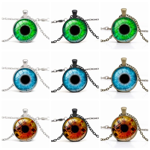 Dragon Evil Eye Necklace 3D eyeball Time Gemstone Glass Cabochon Necklaces Fashion Jewelry for Men Women DROP SHIP Wholesale