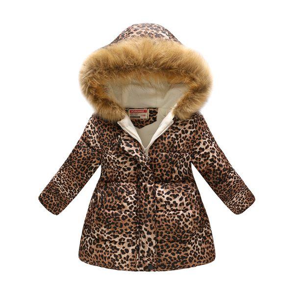 Yeni çocuk peluş kapüşonlu moda retro leopar baskı kız aşağı ceket snowsuit erkek kış ceket sıcak çocuk giyim