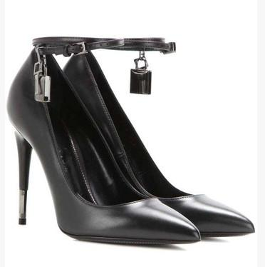 Free Shipping 2017 Ladies sheepskin leather 11CM high heel Dress Shoes Metal silver Lock key Pointed Toe black size 35-43