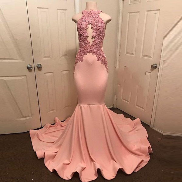 Sexy Pink Mermaid Evening Dresses Jewel Neck Backless with Lace Appliques Celebrity Gowns Elastic Satin Plus Size Prom Gowns