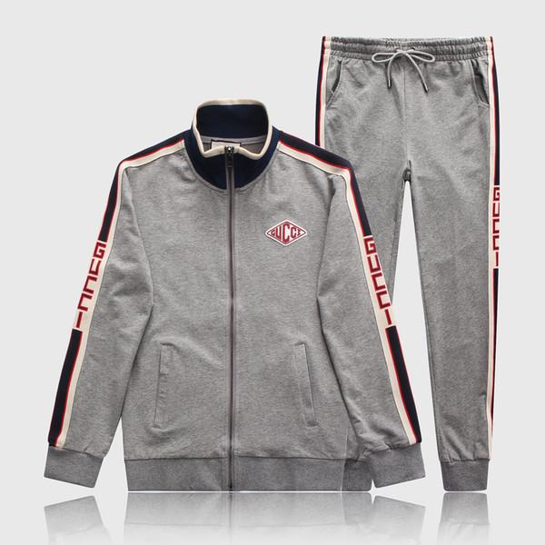 New Fashion Luxury Mens Tracksuit Men Designer Suit Jackets + Pants Zipper Coat Black White Gray High Street Striped Kits Brand Letter