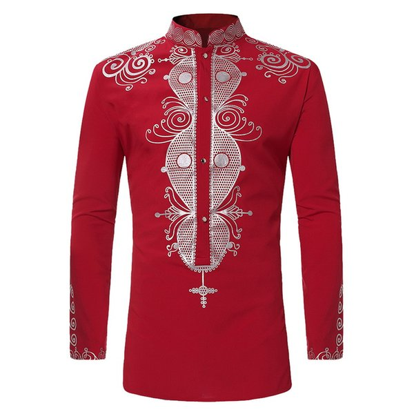 2018 Vintage Men Printed Shirt Casual Long Sleeve Shirt Plus Size Mens Clothing Fashion African Ethnic Male White tops