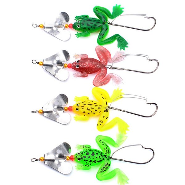 Bionic Frog Fish Baits With Rotate Sheet Metal 4 Color Soft Lures Practical Fishing Tools Factory Direct Sale 1 6hw X