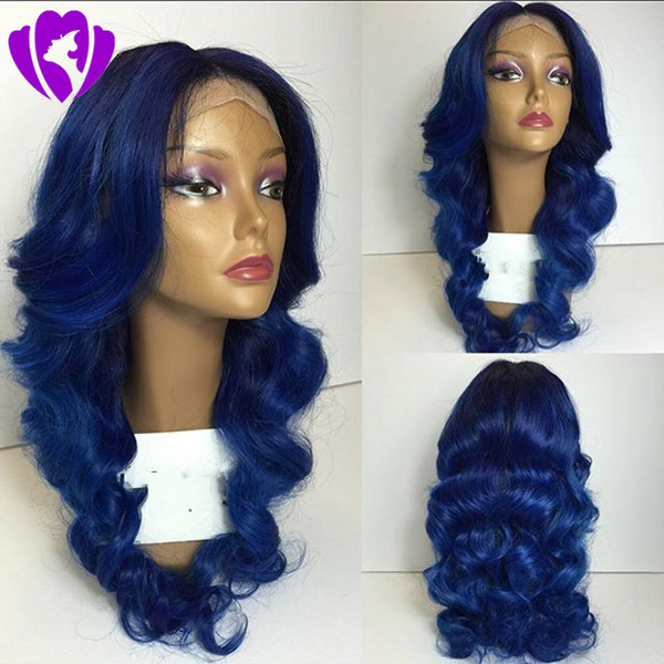 New blue color Synthetic Lace Front Wig Long Body Wave black roots ombre Wigs middle part For black and White Women