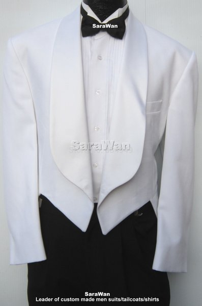 Beyaz Akşam Tailcoats Geniş Şal Yaka, ısmarlama Düğün Tailcoat Suit, Tailored Damat Uzun Kuyruk Smokin Ölçmek İçin Yapılan