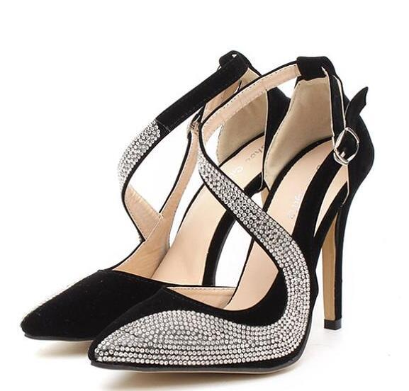 New Arrival Dress Shoes Women High Quality Diamond Sexy High Heels Fashion Party Leather Pumps Woman Wedding Shoes
