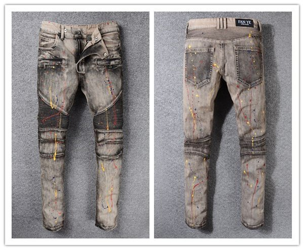 New France Style #980# Mens Distressed Embellished Ribbed Stretch Moto Pants Biker Jeans Slim Trousers Size 28-42