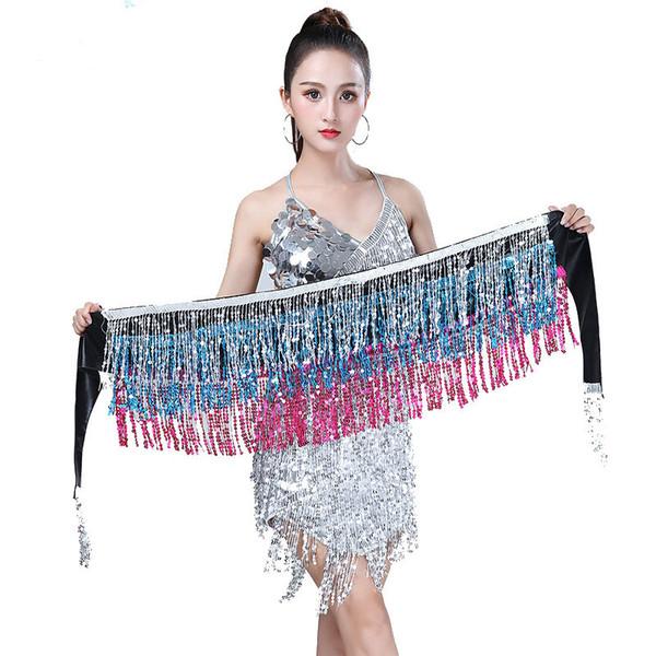 Bellydance Belt Clothes Indian Dance Belt Waist Chain Belly Dance Hip Scarf Women Girl Hip Sequins Tassel Scarf