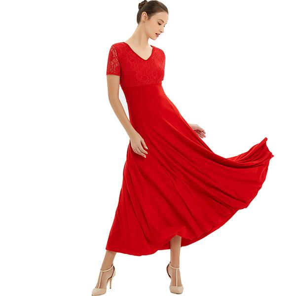 Abiti da ballo per la danza Estate Nuovo costume da ballo in pizzo a maniche corte Donna Waltz Ballroom Competition Abito da ballo Waltz Tango
