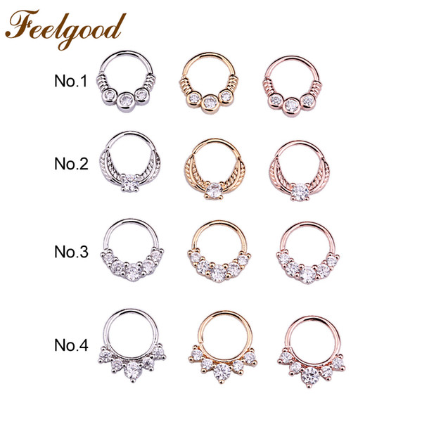 wholesale 10pcs/lot Tribal Indian Septum Piercing Nose Ring CZ Open Hoop Daith Earring Nose Piercing Jewelry Wholesale