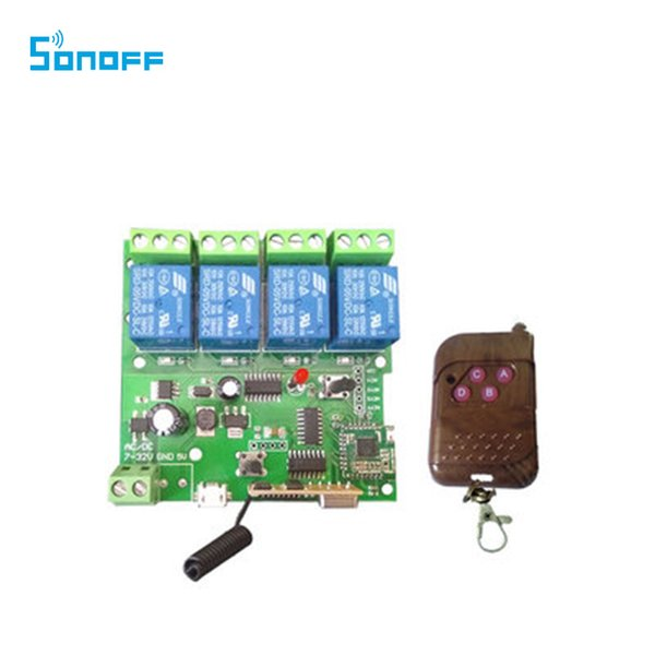 Sonoff 4 Channel Inching /Self Locking/Interlocking WiFi Wireless Switch 5V  32V With 433 Remote For Smart DIY Home Automation Home Lighting Control