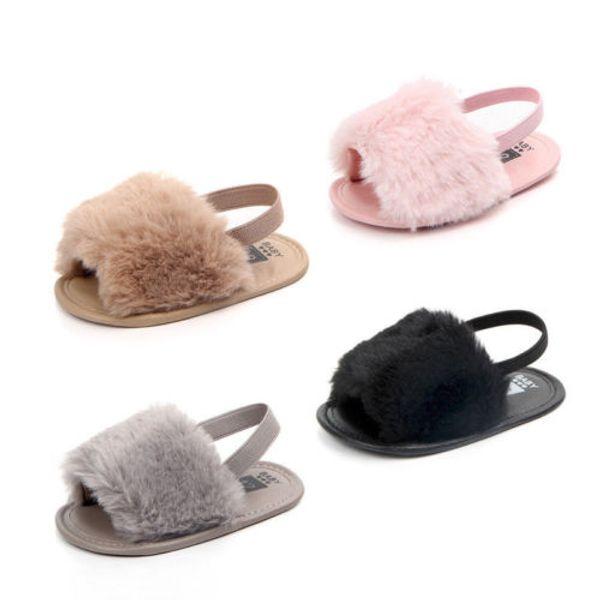 Hot Infant Newborn Baby Girl Cute Soft Hairy Summer Sandals Anti-slip Flip-flop Toddler Kids Shoes Prewalker Cute Slippers