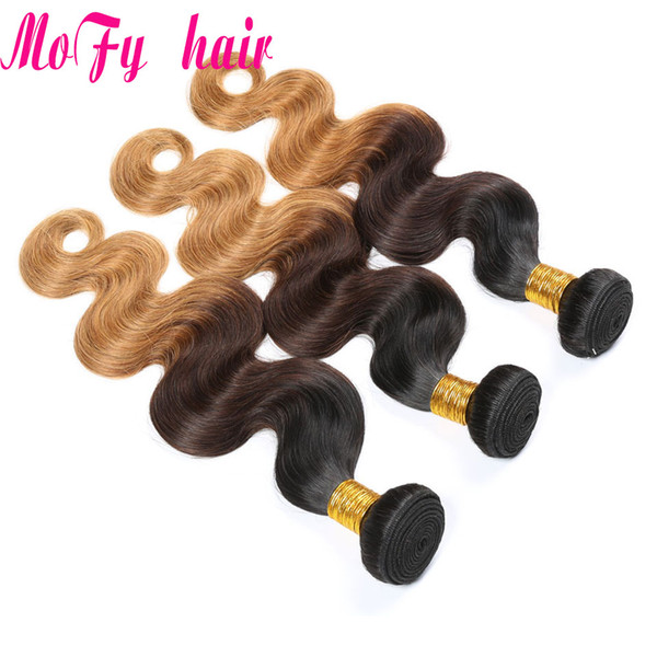 Ombre Body Wave hair three tone 1b/4/27 10-24 inch Non-Remy 100% Human Hair weave bundles Cheap Price Wholesale Free Shipping