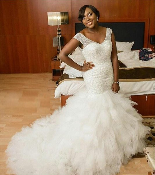African Plus Size Mermaid Wedding Dresses 2019 V Neck Bling Beaded Tiered Ruffles Wedding Gowns Chapel Train Corset Back Bridal Dresses