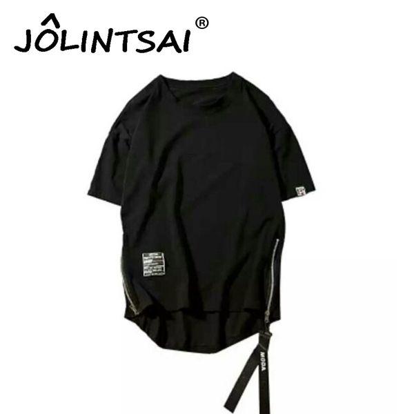 Plus Size 5XL Harajuku Mens T-shirt Hipster Hip Hop Streetwear Tshirts Men Zipper Mens T Shirts Short Sleeve Tees Black Shirt